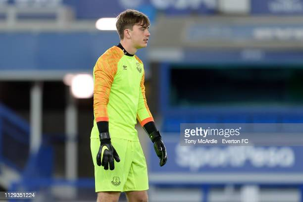 Harry Tyrer of Everton during the FA Youth Cup match between Everton and Brighton Hove Albion at Goodison Park on February 12 2019 in Liverpool...