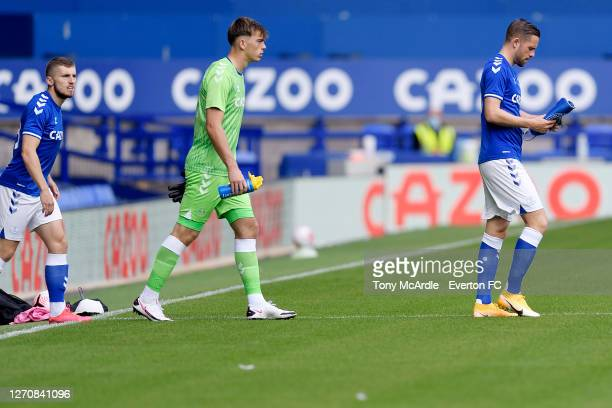 Harry Tyrer walks onto the pitch for his Everton first team debut during the PreSeason Friendly match between Everton and Preston North End at...