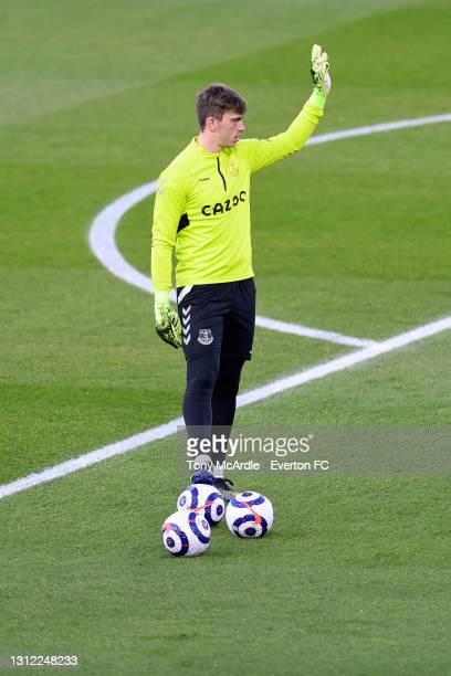 Harry Tyrer warms up before the Premier League match between Brighton and Hove Albion and Everton at the American Express Community Stadium on April...