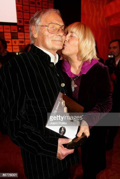 Harry Valerien and his wife Randy pose with his Herbert Award after the Herbert Award 2009 Gala at the Elysee Hotel on March 30 2009 in Hamburg...