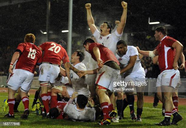 Harry Wells of England U20 celebrates after going over for a try during the match between Wales U20 and England U20 at Eirias Park on March 15 2013...