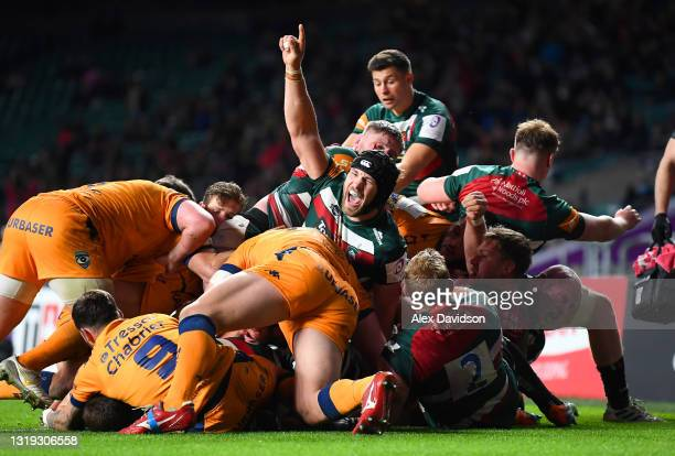 Harry Wells of Leicester Tigers celebrates his side's second try which was scored by Jasper Wiese during the European Rugby Challenge Cup Final match...