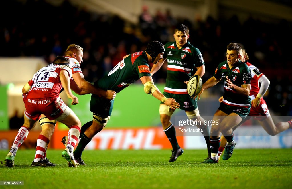 Harry Wells of Leicester Tigers passes the ball to Ben White of Leicester Tigers during the Anglo-Welsh Cup match at Welford Road on November 4, 2017 in Leicester, England.
