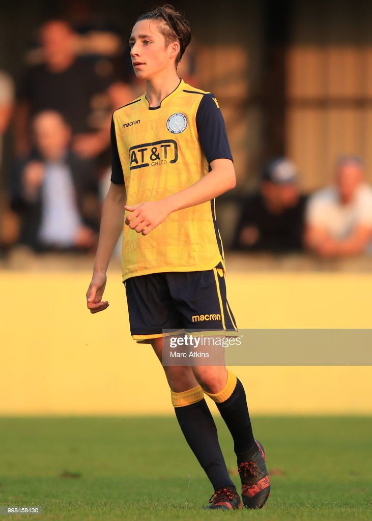 Harry Wickens of Staines Town during the Pre-Season Friendly between Staines Town and Queens Park Rangers at Wheatsheaf Park on July 13, 2018 in Staines, England.