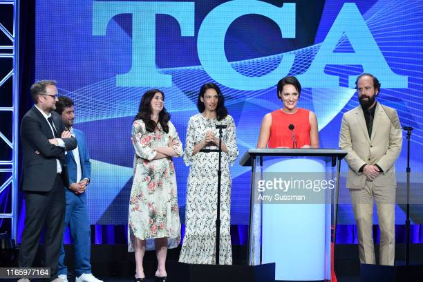 Harry Williams Joe Lewis Sarah Hammond Sian Clifford Phoebe WallerBridge and Brett Gelman accept the Outstanding Achievement in Comedy Award for...