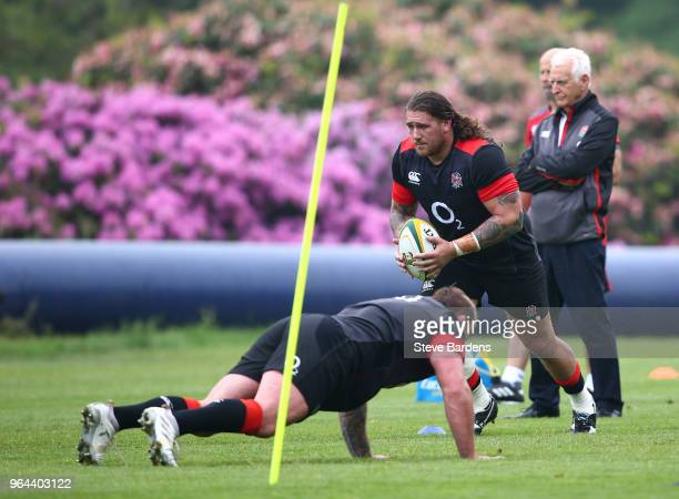 Harry Williams of England in a training session during England Rugby media access at Pennyhill Park on May 31 2018 in Bagshot England