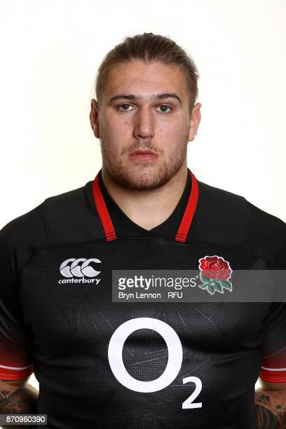 Harry Williams of England poses for a portrait during the England Elite Player Squad Photo call at Pennyhill Park on November 6 2017 in Bagshot...