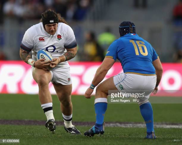 Harry Williams of England runs with the ball during the NatWest Six Nations match between Italy and England at Stadio Olimpico on February 4 2018 in...