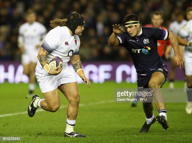 Harry Williams of England runs with the ball during the NatWest Six Nations match between Scotland and England at Murrayfield on February 24 2018 in...