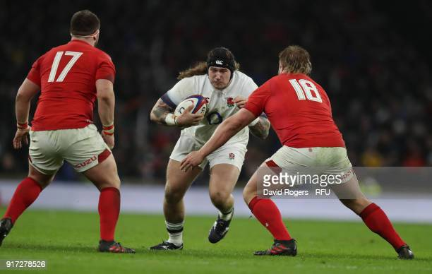 Harry Williams of England takes on Wyn Jones and Bradley Davies during the NatWest Six Nations match between England and Wales at Twickenham Stadium...