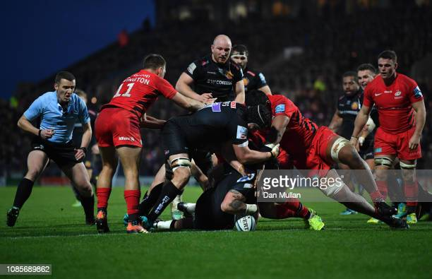 Harry Williams of Exeter Chiefs dives over to score his side's second try during the Gallagher Premiership Rugby match between Exeter Chiefs and...