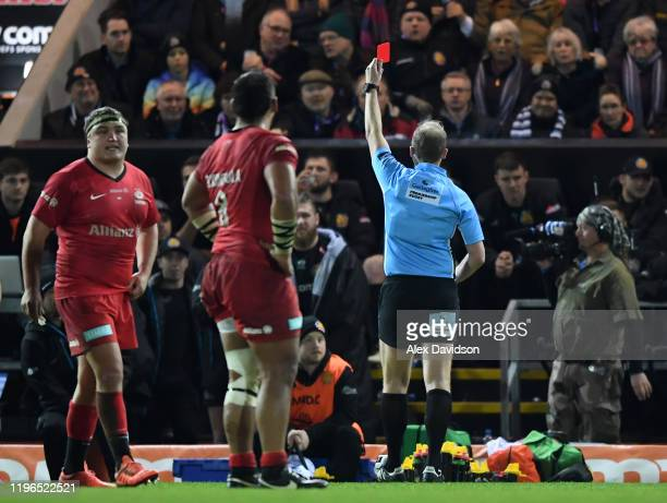 Harry Williams of Exeter Chiefs receives a red card on the bench after a brawl during the Gallagher Premiership Rugby match between Exeter Chiefs and...