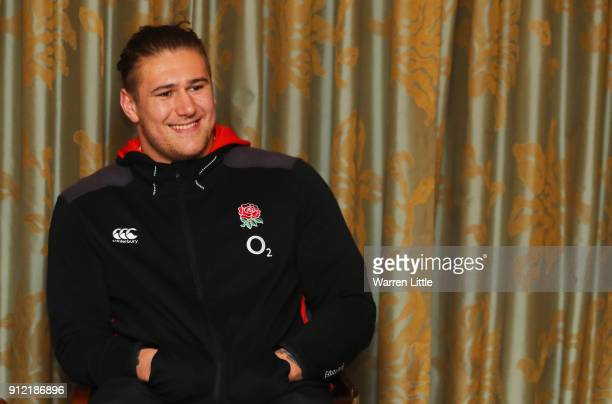 Harry Williams speaks to the media during an England press conference at Pennyhill Park on January 30 2018 in Bagshot England