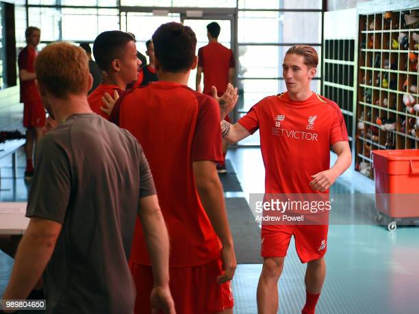 Harry Wilson Allan Rodrigues de Souza and PedroChirivella of Liverpool during their first day back for preseason training at Melwood Training Ground...