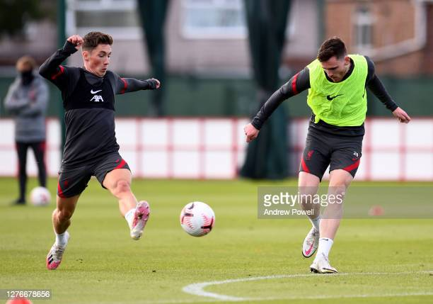 Harry Wilson and Andy Robertson of Liverpool during the training session at Melwood Training Ground on September 25 2020 in Liverpool England