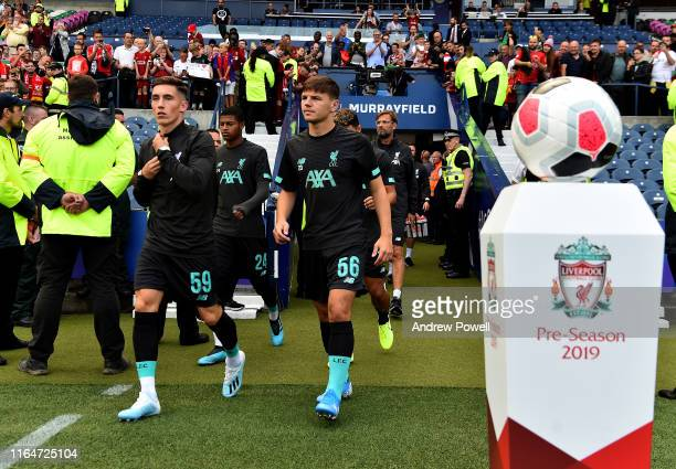 Harry Wilson and Bobby Duncan of Liverpool walking out before the PreSeason Friendly match between Liverpool FC and SSC Napoli at Murrayfield on July...