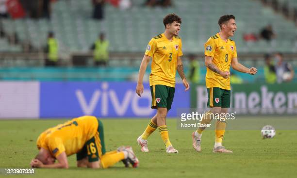 Harry Wilson and Neco Williams of Wales celebrate after victory in the UEFA Euro 2020 Championship Group A match between Turkey and Wales at Baku...