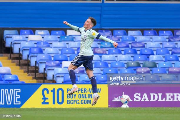 Harry Wilson celebrates scoring his third and Cardiff City's fourth goal during the Sky Bet Championship match between Birmingham City and Cardiff...