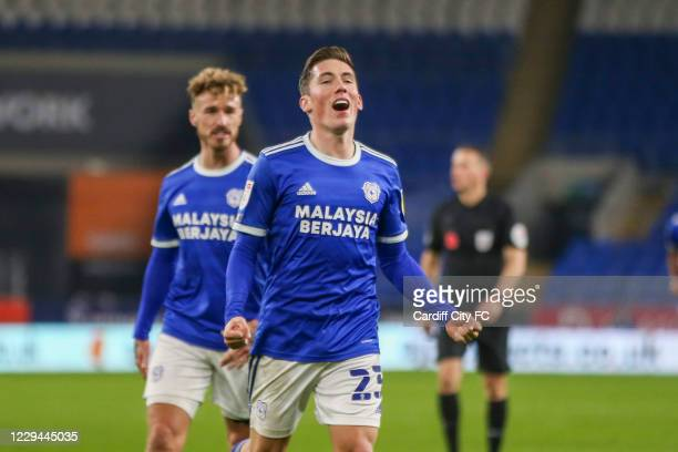 Harry Wilson celebrates the third goal for Cardiff City FC during the Sky Bet Championship match between Cardiff City and Barnsley at Cardiff City...