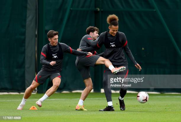 Harry Wilson Neco Williams and Rhys Williams of Liverpool during a training session at Melwood Training Ground on September 26 2020 in Liverpool...