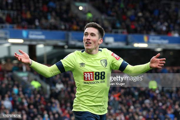 Harry Wilson of AFC Bournemouth celebrates a goal which is later disallowed by VAR during the Premier League match between Burnley FC and AFC...