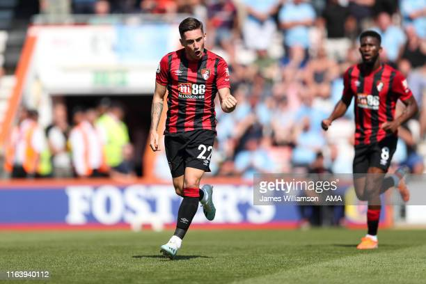 Harry Wilson of AFC Bournemouth celebrates after scoring a goal to make it 1-2 during the Premier League match between AFC Bournemouth and Manchester...