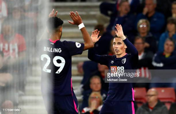 Harry Wilson of AFC Bournemouth celebrates after scoring his team's second goal with Philip Billing of AFC Bouremouth during the Premier League match...
