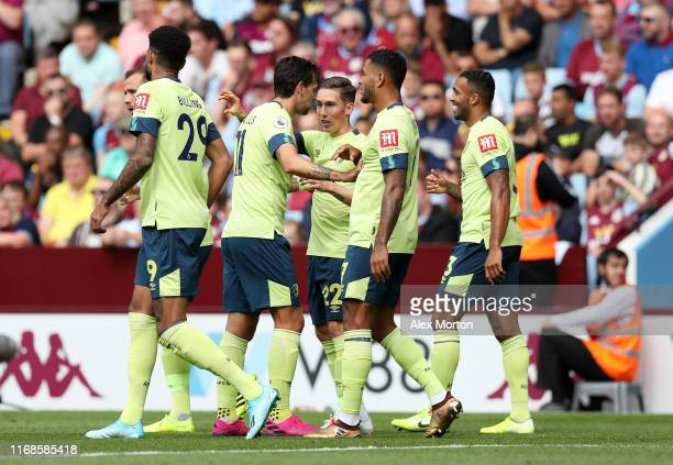 Harry Wilson of AFC Bournemouth celebrates with team mates after scoring his team's second goal during the Premier League match between Aston Villa...