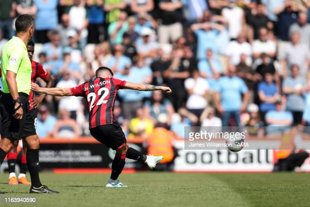 Harry Wilson of AFC Bournemouth scores a goal from a free kick to make it 1-2 during the Premier League match between AFC Bournemouth and Manchester...