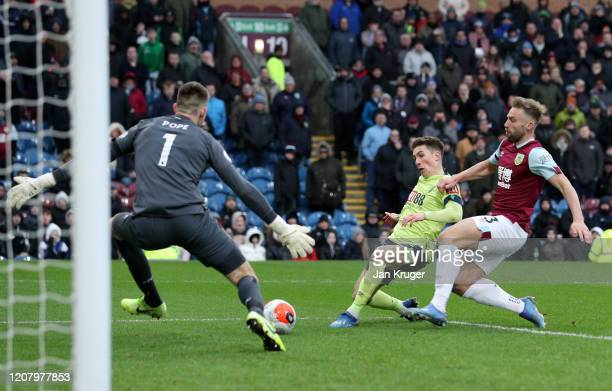 Harry Wilson of AFC Bournemouth scores a goal which is later disallowed by VAR during the Premier League match between Burnley FC and AFC Bournemouth...