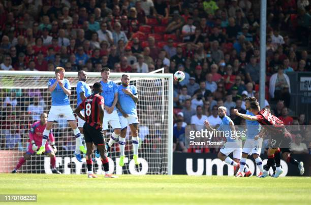 Harry Wilson of AFC Bournemouth scores his team's first goal during the Premier League match between AFC Bournemouth and Manchester City at Vitality...