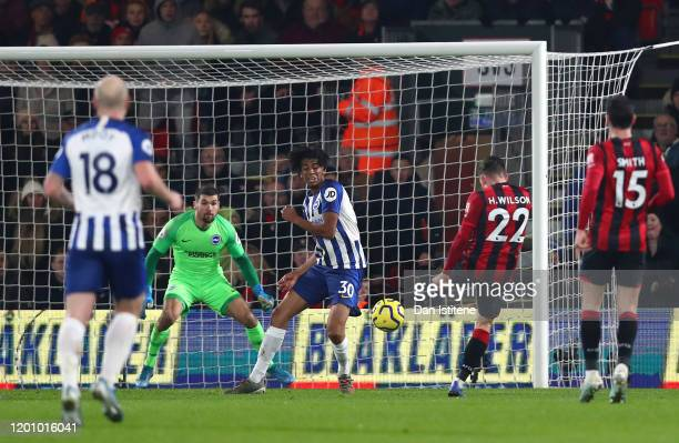 Harry Wilson of AFC Bournemouth scores his team's first goal during the Premier League match between AFC Bournemouth and Brighton & Hove Albion at...