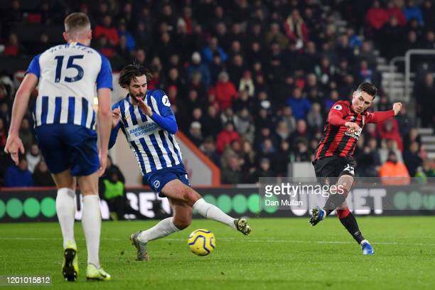 Harry Wilson of AFC Bournemouth shoots during the Premier League match between AFC Bournemouth and Brighton Hove Albion at Vitality Stadium on...