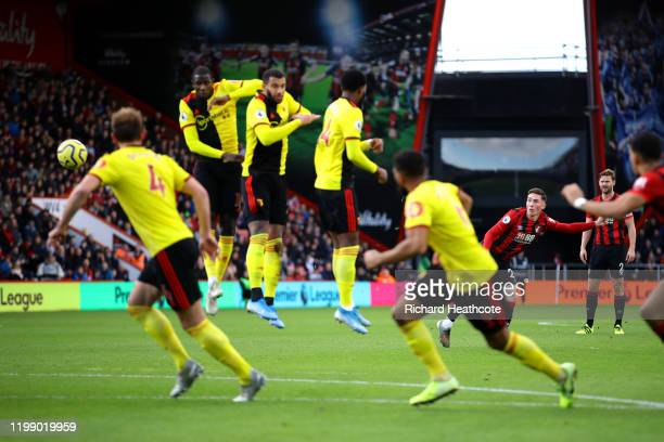 Harry Wilson of AFC Bournemouth takes a freekick during the Premier League match between AFC Bournemouth and Watford FC at Vitality Stadium on...