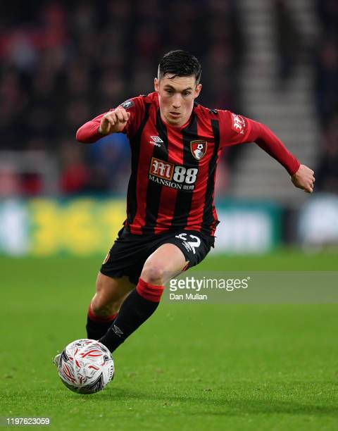Harry Wilson of AFC Bournemouth takes the ball forward during the FA Cup Third Round match between AFC Bournemouth and Luton Town at the Vitality...