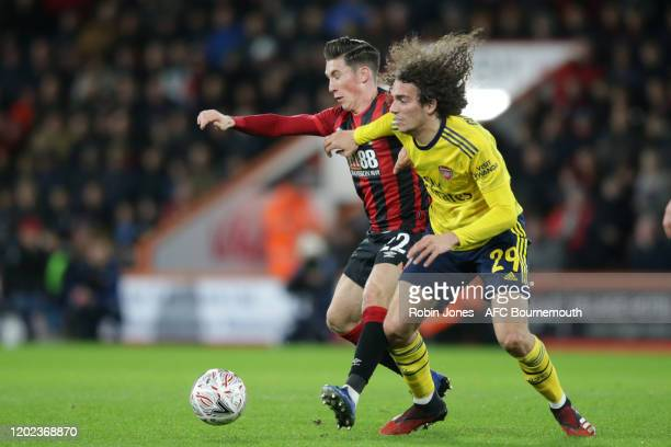 Harry Wilson of Bournemouth and Matteo Guendouzi of Arsenal during the FA Cup Fourth Round match between Bournemouth and Arsenal at Vitality Stadium...