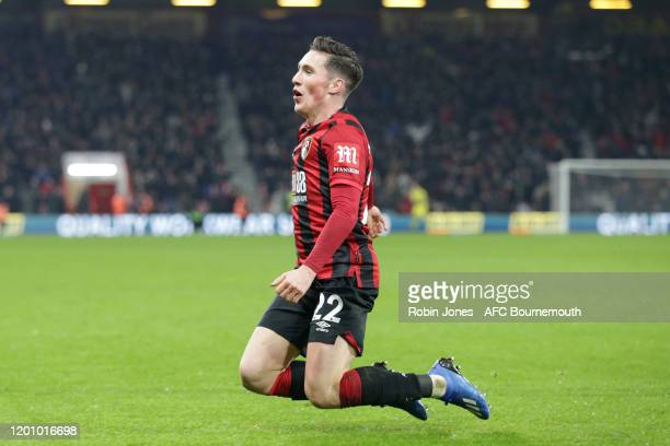 Harry Wilson of Bournemouth celebrates after he scores a goal to make it 1-0 during the Premier League match between AFC Bournemouth and Brighton &...