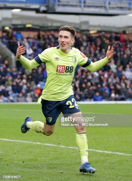 Harry Wilson of Bournemouth celebrates after he thinkls he has scored a goal to make it 1-1 but its ruled out by VAR which results in a penalty for...