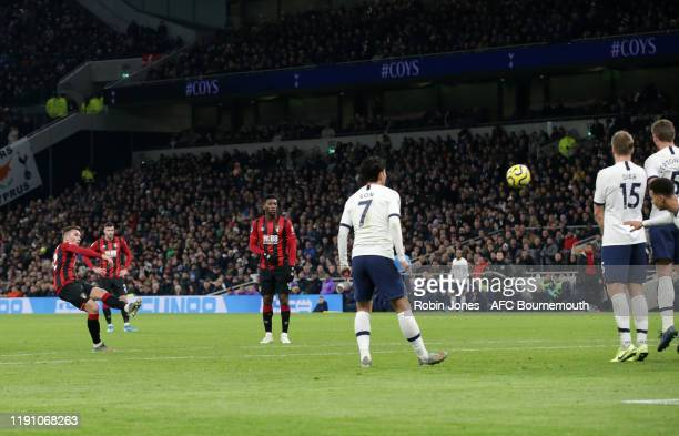 Harry Wilson of Bournemouth scores a goal to make it 3-1 from a free-kick during the Premier League match between Tottenham Hotspur and AFC...