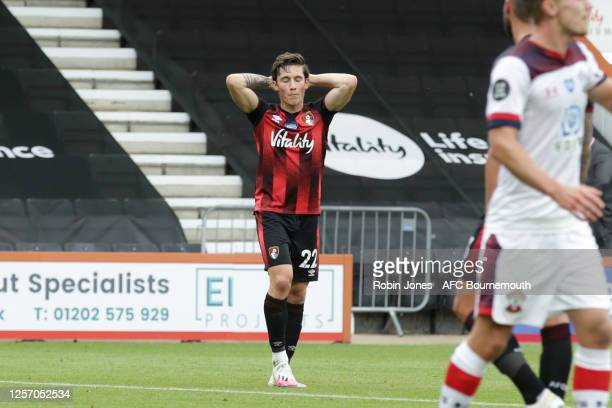 Harry Wilson of Bournemouth shot is turned around the post by Alex McCarthy of Southampton during the Premier League match between AFC Bournemouth...