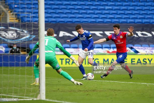 Harry Wilson of Cardiff City FC and Darragh Lenihan of Blackburn Rovers during the Sky Bet Championship match between Cardiff City and Blackburn...