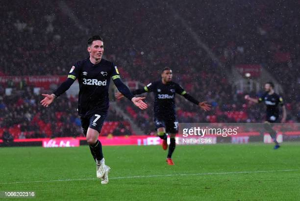 Harry Wilson of Derby County celebrates scoring during the Sky Bet Championship match between Stoke City and Derby County at Bet365 Stadium on...