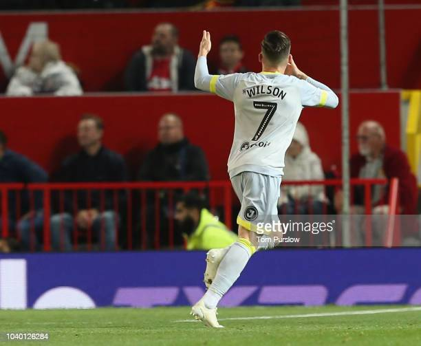 Harry Wilson of Derby County celebrates scoring their first goal during the Carabao Cup Third Round match between Manchester United and Derby County...