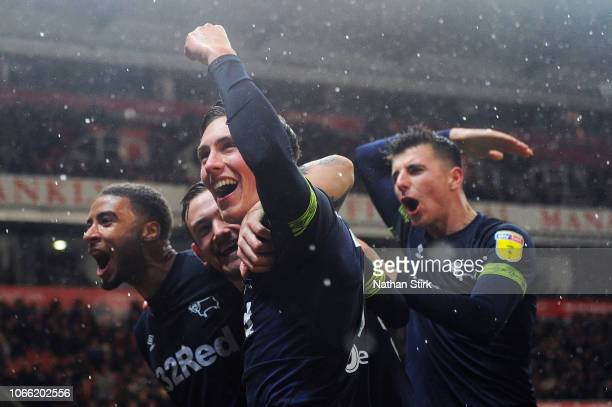 Harry Wilson of Derby County celebrates with his team mates after scoring during the Sky Bet Championship match between Stoke City and Derby County...