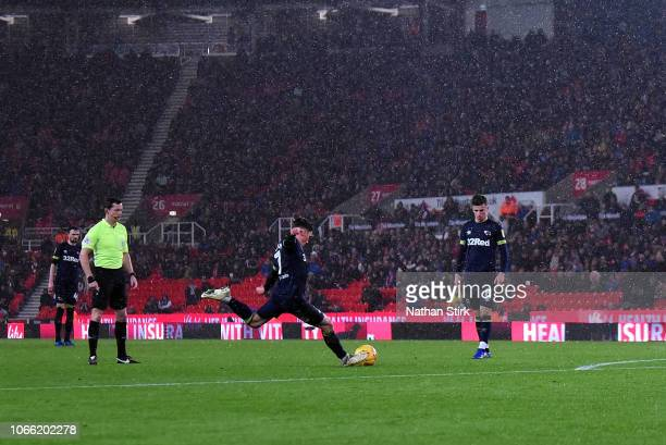 Harry Wilson of Derby County scores during the Sky Bet Championship match between Stoke City and Derby County at Bet365 Stadium on November 28 2018...
