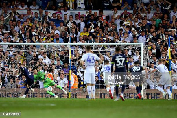 Harry Wilson of Derby County scores his team's third goal from the penalty spot during the Sky Bet Championship Playoff semi final second leg match...