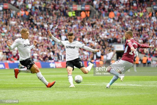 Harry Wilson of Derby County shoots during the Sky Bet Championship Play-off Final match between Aston Villa and Derby County at Wembley Stadium on...