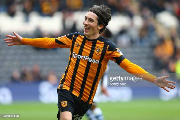 Harry Wilson of Hull City celebrates scoring during the Sky Bet Championship match between Hull City and Queens Park Rangers at KCOM Stadium on April...