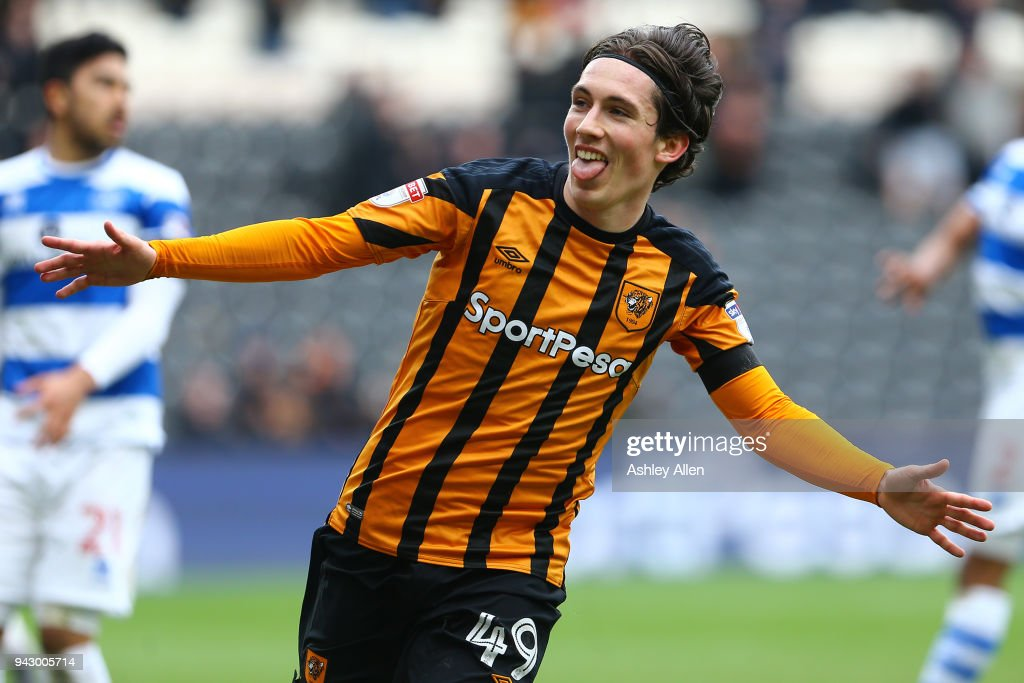 Harry Wilson of Hull City celebrates scoring during the Sky Bet Championship match between Hull City and Queens Park Rangers at KCOM Stadium on April 7, 2018 in Hull, England.