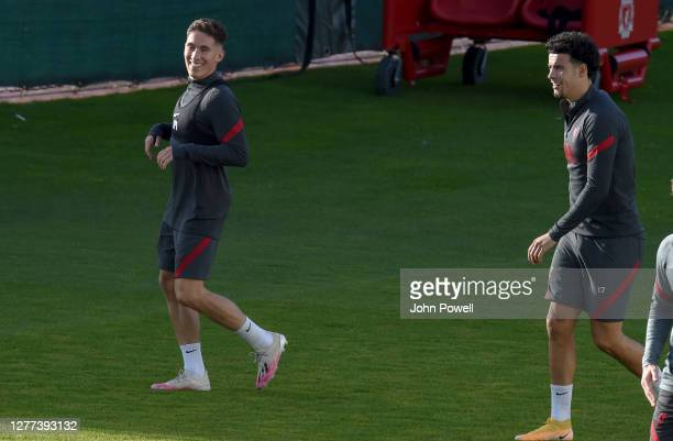 Harry Wilson of Liverpool and Curtis Jones of Liverpool during a training session at Melwood Training Ground on September 29 2020 in Liverpool England